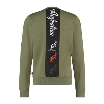 Australian sportswear crewneck tape logo | olijfgroen