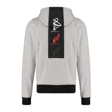 Australian sportswear zip hoodie tape logo   gemêleerd grijs