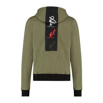 Australian sportswear zip hoodie tape logo   olijfgroen