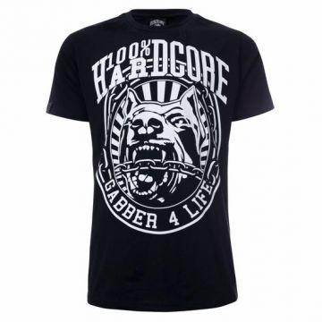 100% Hardcore T-shirt GABBER 4 LIFE | zwart