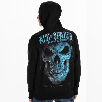 Pit Bull hooded sweater blue skull   zwart