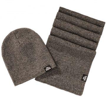 Lonsdale set sjaal en muts Leafield | mergel bruin