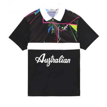 Australian polo met print en witte streep | zwart 563