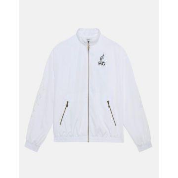 Australian Hard Court vest met bliksem print en cosmo patch    wit