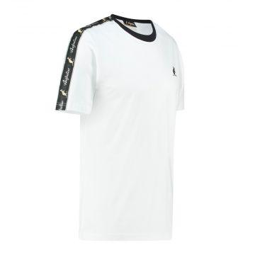Australian T-shirt met zwarte schouder bies | wit