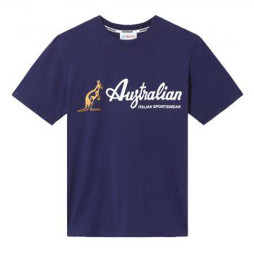 Australian sportswear T-shirt met geel en wit merklogo | cosmo blauw