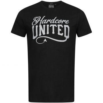 Hardcore United T-shirt reflecterende logoprint   zwart