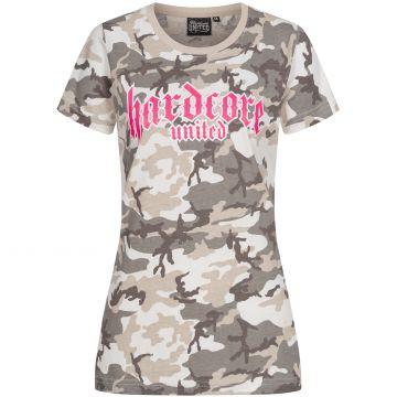 Hardcore United dames T-shirt roze goth logo print | camou grey