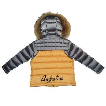 Australian winterjas voor kinderen | grijs - oranje