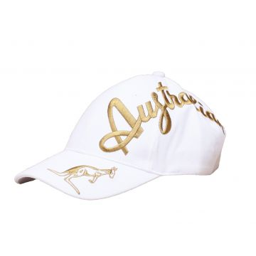 Australian Kappe goldene Crossover-Stickerei exklusiv | Weiß