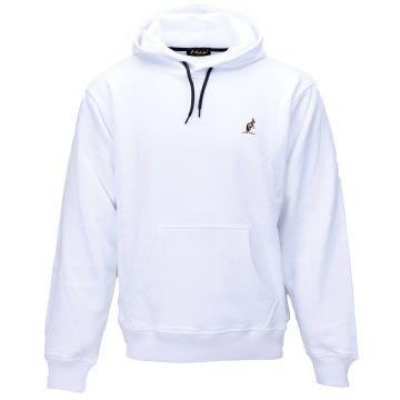 Australian hooded sweater met verticale zilveren bies 2.0 op de rug | wit