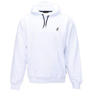 Australian hooded sweater met verticale gouden bies 2.0 op de rug | wit