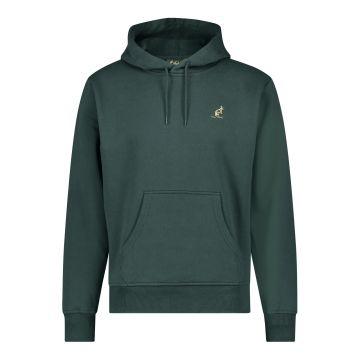 Australian hooded sweater met verticale zwarte bies 2.0 op de rug | woods green