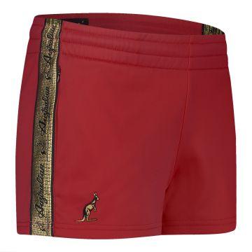 Australian dames hotpants met gouden bies 2.0 | bordeaux rood
