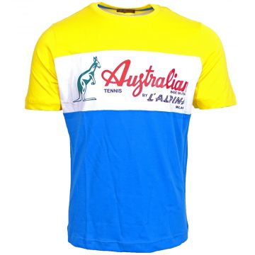 Australian T-shirt Sportswear Logo Traditioneel   capri blauw - geel