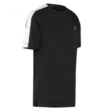 Australian T-shirt met witte schouder bies   zwart