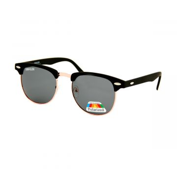 Loud and Clear clubmaster zonnebril metaal goud | zwart gepolariseerd glas