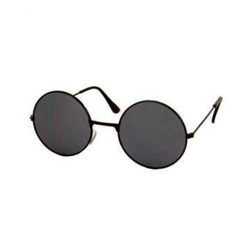 Festival/Gabber bril rond metaal zwart | donkere glazen