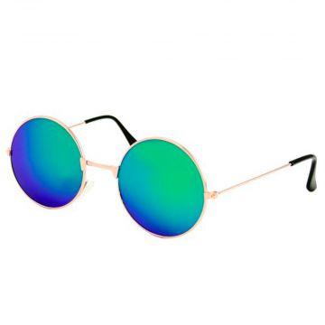 Loud and Clear bril spiegelglazen rond metaal goud | groen - blauw