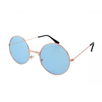 Loud and Clear ronde zonnebril metaal goud | lichtblauwe glazen