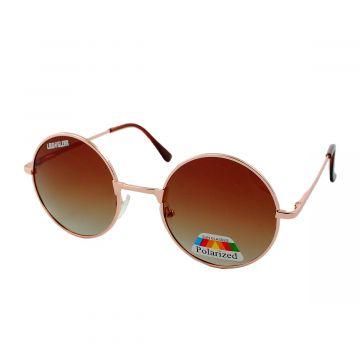 Loud and Clear retro ronde zonnebril metaal goud | bruine glazen
