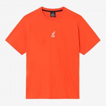 Australian Hard Court T-shirt engel artwork op rug | lava