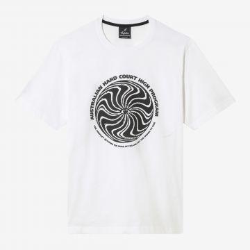 Australian Hard Court T-shirt the conflict artwork op voorkant | wit