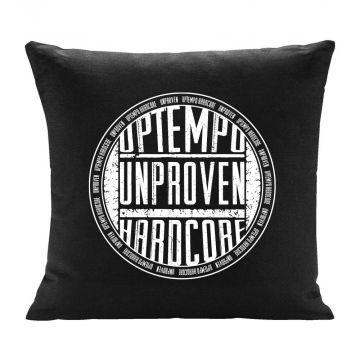 Unproven kussen uptempo hardcore ronde logo print