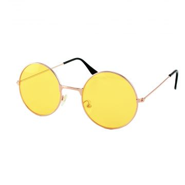 Loud and Clear ronde zonnebril metaal goud | gele glazen
