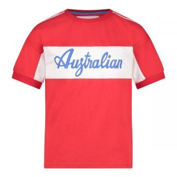 Australian kids sports T-shirt met schouder bies | rood