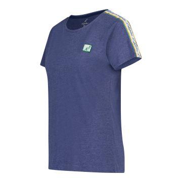 Australian dames t-shirt patch logo met bies | gemêleerd blauw