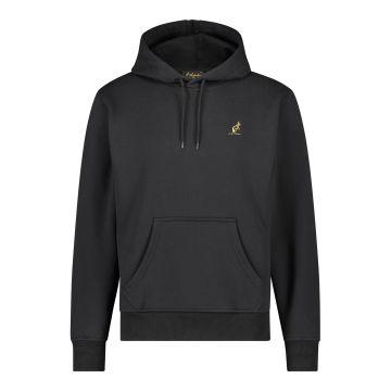 Australian hooded sweater met verticale zilveren bies 2.0 op de rug | zwart