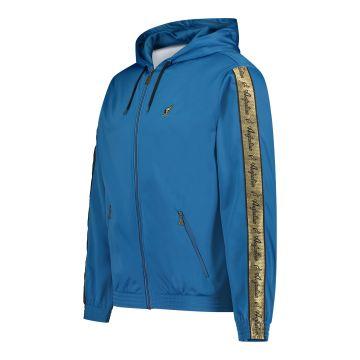 Australian vest met capuchon en gouden bies op de mouwen   teal blue