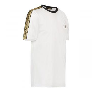Australian T-shirt met gouden schouder bies | wit