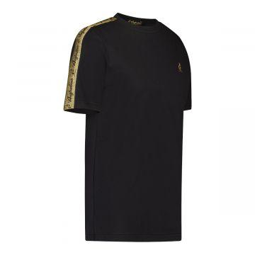 Australian T-shirt met gouden schouder bies | zwart