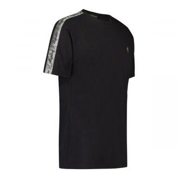 Australian T-Shirt mit silbernem Streifen auf Schultern | schwarz