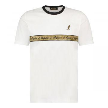 Australian T-shirt met gouden borst bies | wit