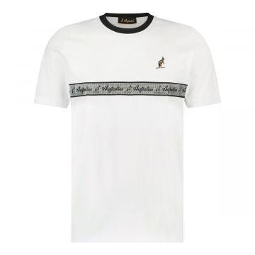 Australian T-shirt met zilveren borst bies   wit