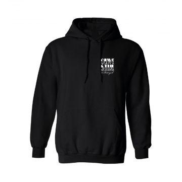 Ouwe Stijl is Botergeil hooded sweater zwart / wit logo print op rug