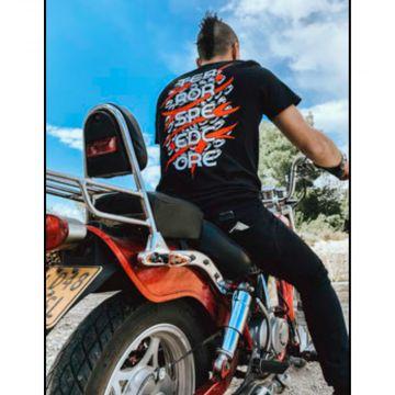 Speedcore Italia T-shirt tweekleurig logo [voor en achter bedrukt]   zwart