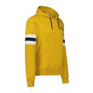 Australian sportswear hooded sweater blauwe / witte arm patches | mosterdgeel
