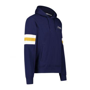 Australian sportswear hooded sweater gele witte arm patches | cosmo blauw