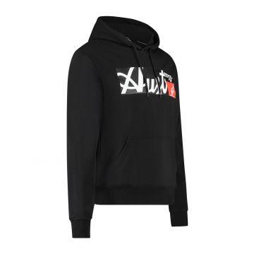 Australian Sportswear hooded sweater met rechthoek logo print op de voorkant | zwart
