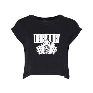 Hard-Wear Dames Croptop Terror Gas Mask | zwart