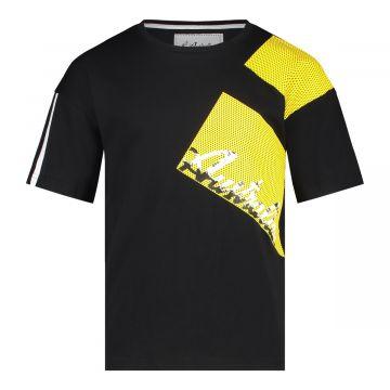 Australian kids T-shirt pinhole print | zwart - geel