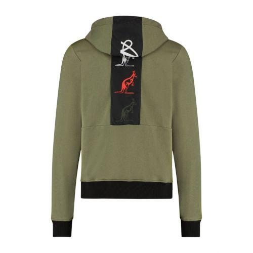 Australian sportswear zip hoodie tape logo | olijfgroen
