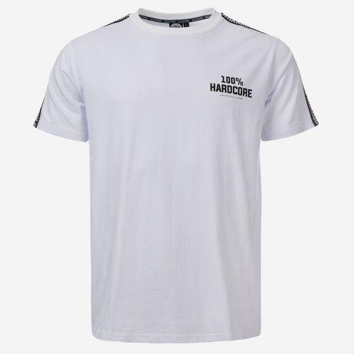 100% Hardcore T-shirt met schouder bies UNITED SPORT | wit