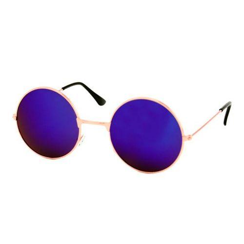 Loud and Clear bril spiegelglazen rond metaal goud | blauw - paars