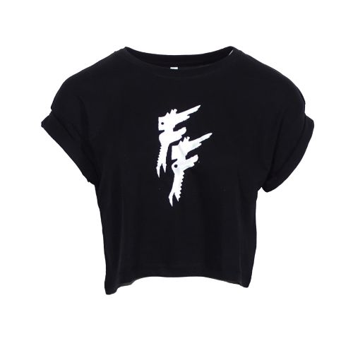 Frantic Freak dames croptop   logo zonder tekst ☓ zwart