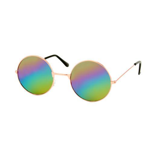 Loud and Clear ronde zonnebril metaal goud | regenboog glazen